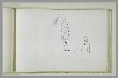 Deux gros hommes, de profil, buste d'homme, et bonnet phrygien