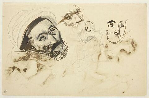 Trois études de femme et étude d'un visage d'homme