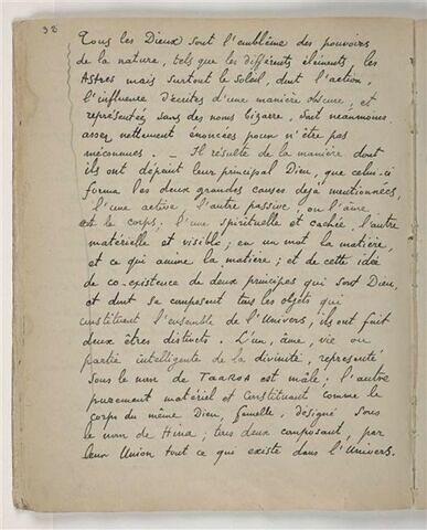 Texte manuscrit en langue française