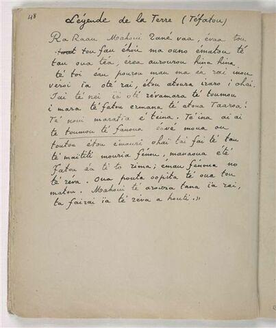 Texte manuscrit en langue tahitienne