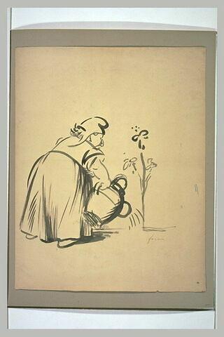 Grosse femme, coiffée d'un bonnet phrygien, arrosant un arbuste