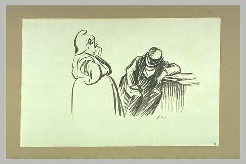 Grosse femme coiffée d'un bonnet phrygien devant un homme assis, accablé