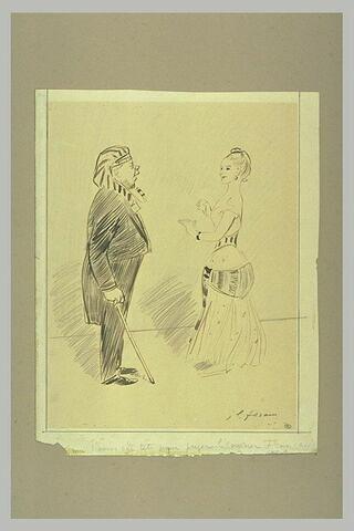 Homme avec une coiffure égyptienne regardant une femme en corset