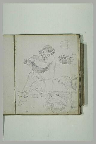 Etudes de divers personnages dont un homme assis jouant de la cornemuse