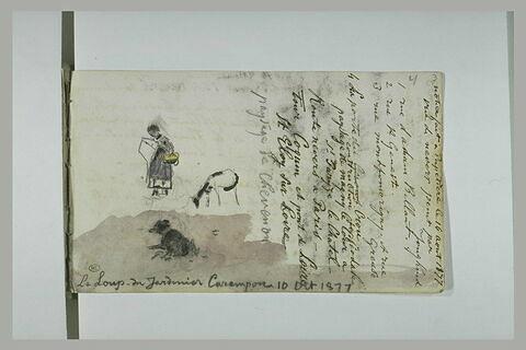 Notes manuscrites ; figure, chèvre et chien couché