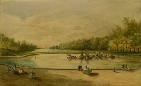 Vue du parc de Versailles : le bassin d'Apollon et le grand canal en perspective