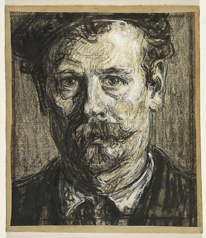 Autoportrait de face, barbe et moustache