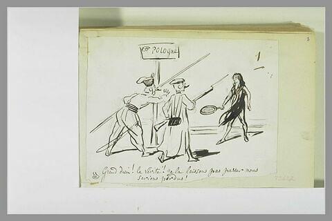 Caricature : deux soldats près d'un poteau indiquant 'Pologne'