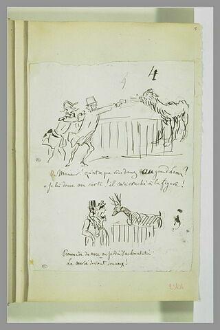 Caricatures : deux hommes devant un lama ; couple contemplant un cerf