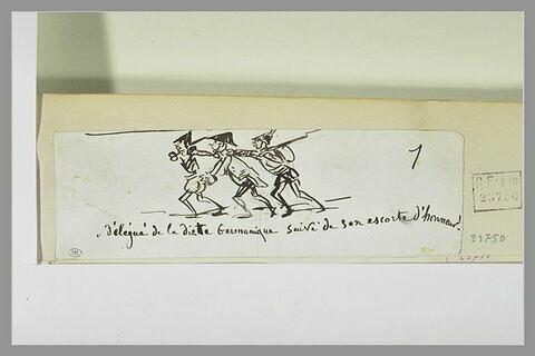 Caricature : trois soldats se suivant