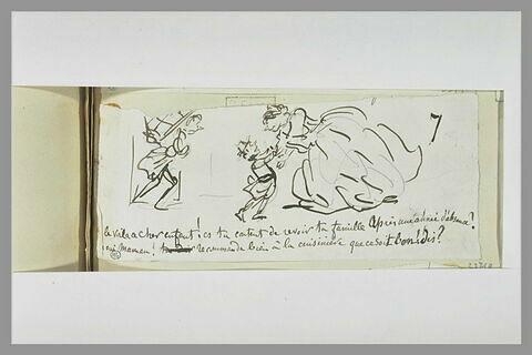 Caricature : une femme accueillant un collégien suivi d'un portefaix