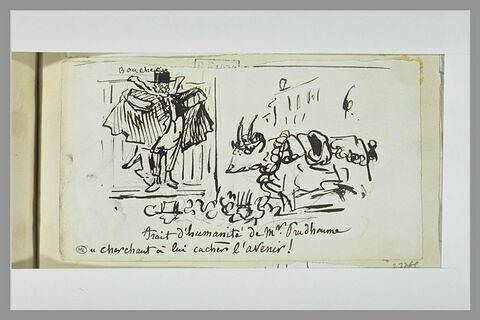 Caricature : Prudhomme cachant un boeuf mort à un boeuf vivant