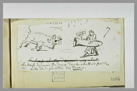 Caricature : un boeuf frappé de mort par des notes sortant d'un cuivre