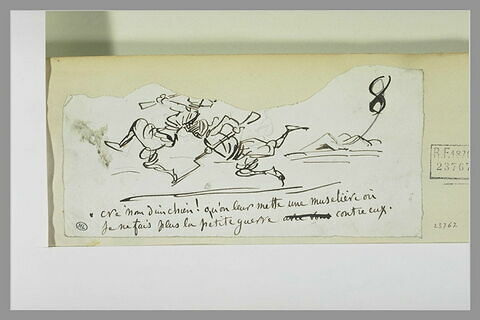 Caricature : soldat frappant de son casque un soldat ennemi