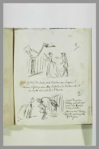 Caricatures : dame et gardien devant une autruche ; couple devant un oiseau