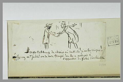 Caricature : conversation entre un peintre et un gardien coiffé d'un bicorne