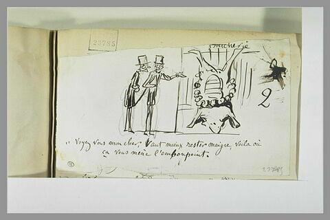 Caricature : deux bourgeois devant un boeuf mort suspendu