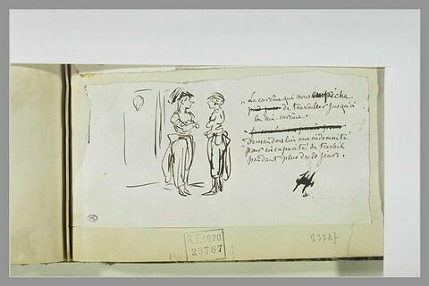 Caricature : dialogue entre deux femmes travesties