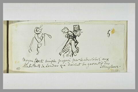 Caricature : homme portant un chien sur sa nuque suivi d'un homme