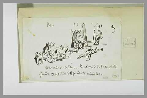 Caricature : une rue avec des hommes assis ou allongés sur le sol