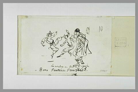 Caricature : un arabe devant deux travestis au bal de l'Opéra