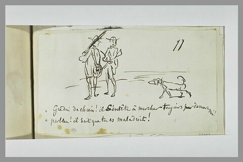 Caricature : deux chasseurs et un chien