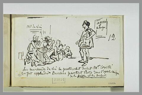 Caricature : des hommes prosternés devant Bacchus