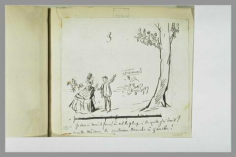 Caricature : un homme coiffé d'une casquette montrant à une dame un arbre
