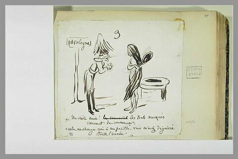 Caricature : un officier s'adressant à une femme dévêtue