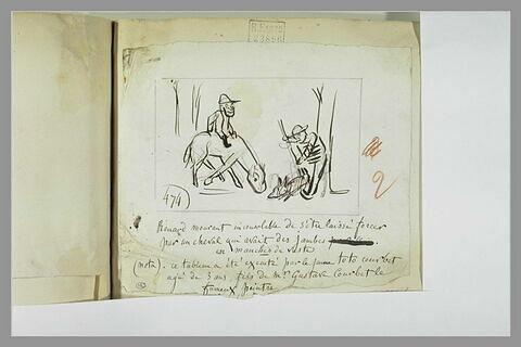 Caricature : tableau représentant un cavalier et une figure devant un renard
