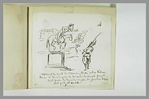 Caricature : la statue équestre d'Henri IV