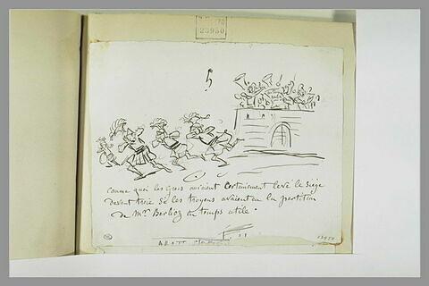 Caricature : soldats de la grèce antique s'enfuyant devant des musiciens