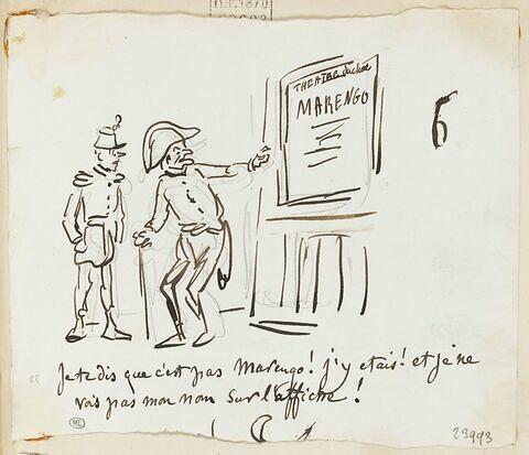Caricature : un invalide montrant à un soldat une affiche de théâtre