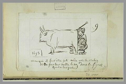 Caricature : un homme trayant une vache