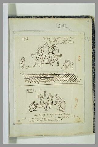 Caricatures : tableau du Travail ; tableau du Repos