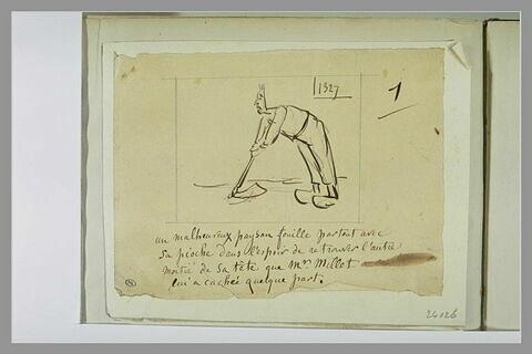 Caricature : tableau d'un paysan se reposant sur sa houe