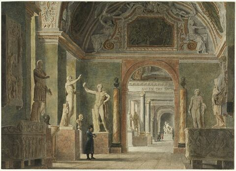 Vue du musée des antiques, au Louvre, à l'époque napoléonienne