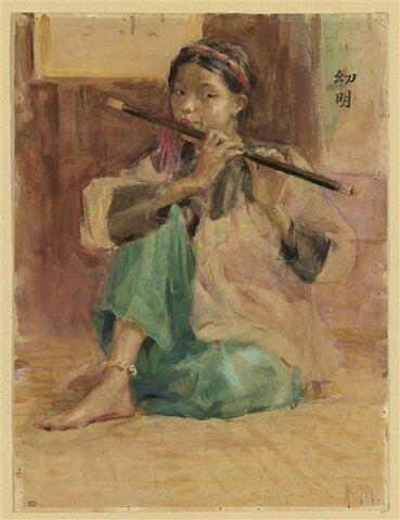 Musicienne vietnamienne assise, jouant de la flûte