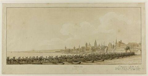 Napoléon Ier traverse le Rhin sur un pont de bateaux à Mayence, 3 oct. 1806