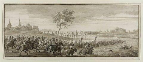 Corps de cavalerie traversant une rivière à gué