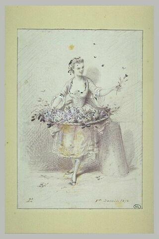 Bouquetière en costume Louis XV, debout, son éventaire pendu à sa taille