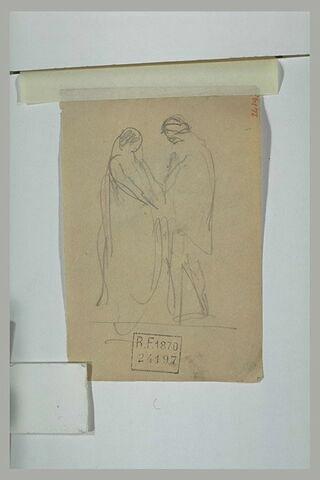 Deux personnages debout se tenant par la main