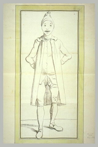 Caricature : homme en bonnet de nuit, à l'expression imbécile