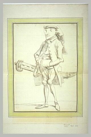 Caricature du peintre Canavas (?) aves un manchon et un grand couteau à la ceinture