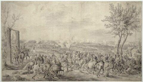 Louis XV, suivi du Dauphin, donne ses ordres à la bataille de Fontenoy, le 11 mai 1745