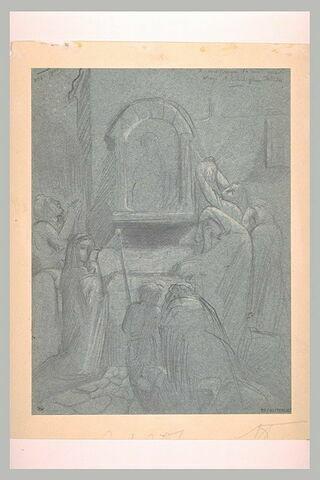 Femmes en pleurs devant une image de la Vierge