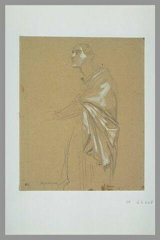 Femme drapée, debout, tournée vers la gauche, le bras tendu