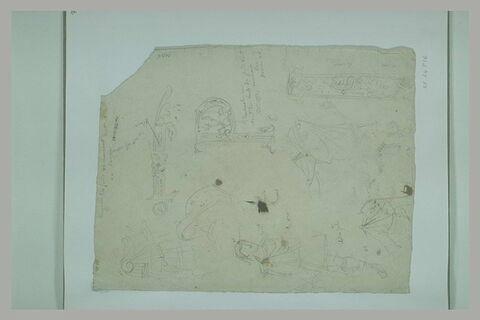 Etudes de lettres ornées et de romains en tunique et toge