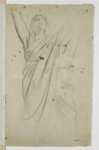 Figure drapée, vue de face, les bras levés