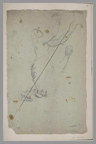 Femme, agenouillée, de profil à droite, la tête renversée